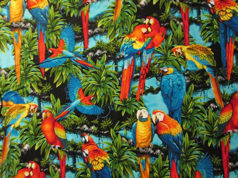 parrots birds realistic tress cotton fabric 2 99 via etsy
