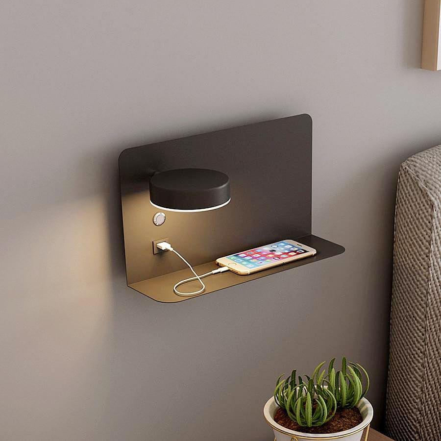 13++ Floating bedside shelf with light trends