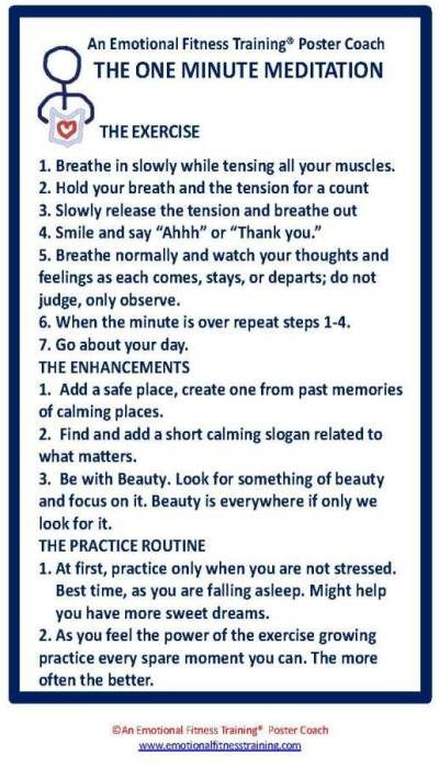 Instructions For A One Minute Meditation To Improve Your Emotional