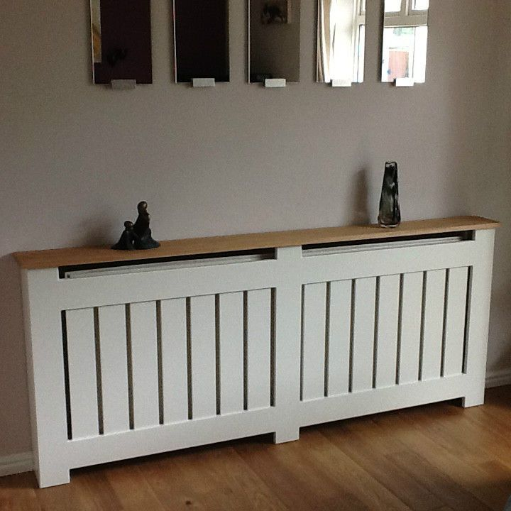 Kingsdale MADE TO MEASURE Vertical Slat Radiator Cover / Cabinet With Oak  Top In Home,