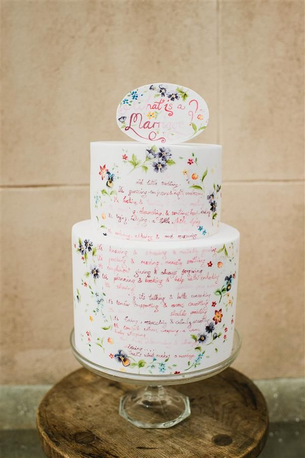 lovely poem wedding cake by nevie pie cakes collaboration bespoke verse photo by alexa loy. Black Bedroom Furniture Sets. Home Design Ideas