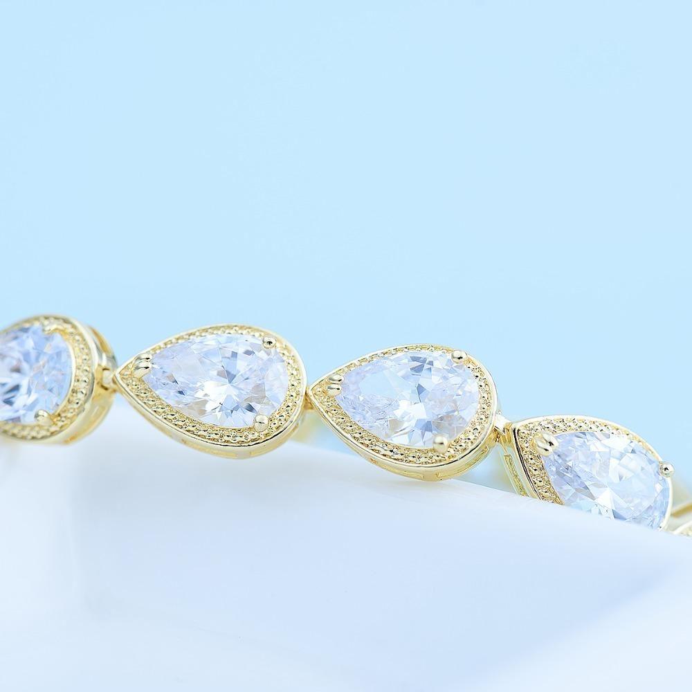 Luoteemi luxury bracelet women big teardrop clear cubic zircon