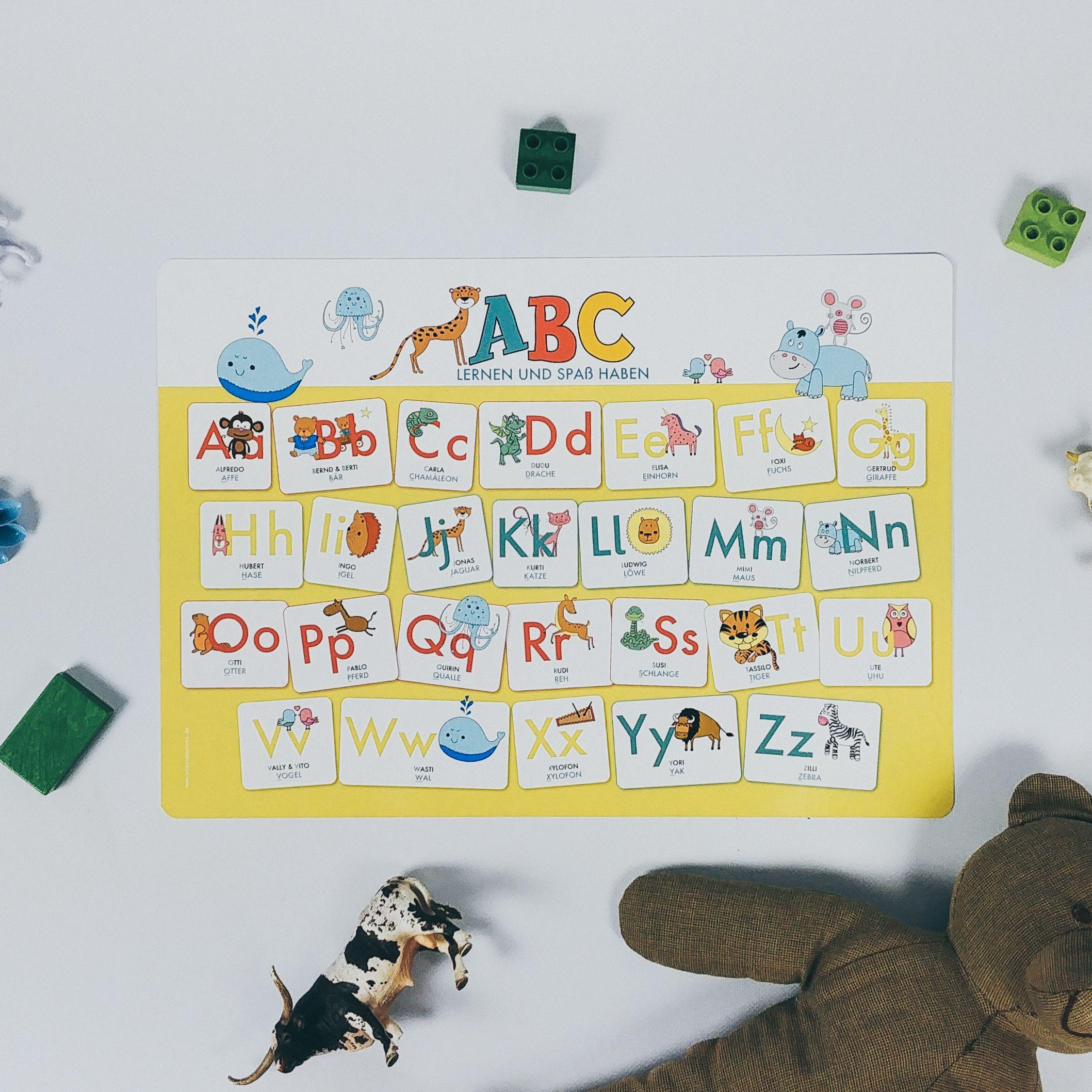 ABC lernen mit dem Mini Poster, Tischset, Schreibtischunterlage ...