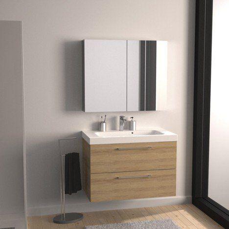 Meuble de salle de bains Remix imitation chêne 91x48.5 cm, 2 tiroirs