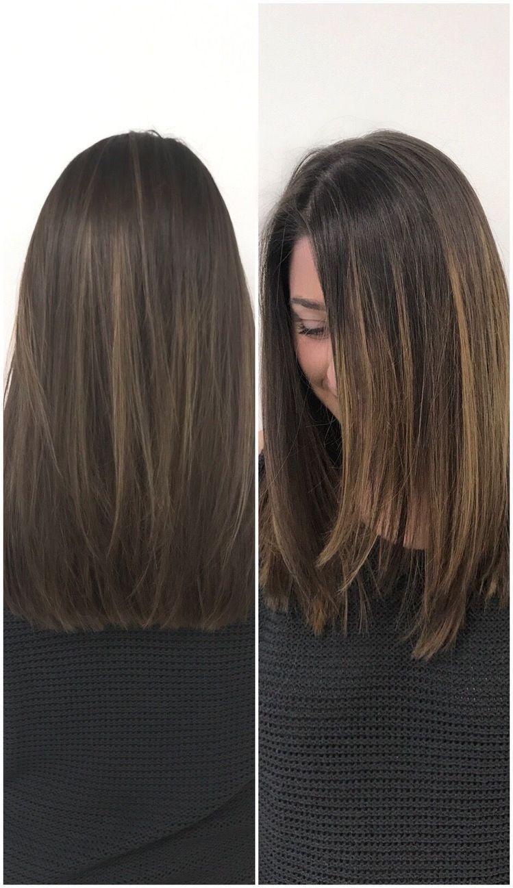 brunette long bob sleek straight | hair in 2019 | medium