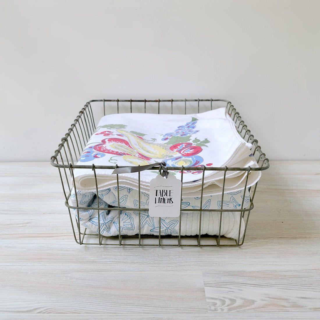 Vintage wire basket; metal bicycle basket; large rectangular wire ...