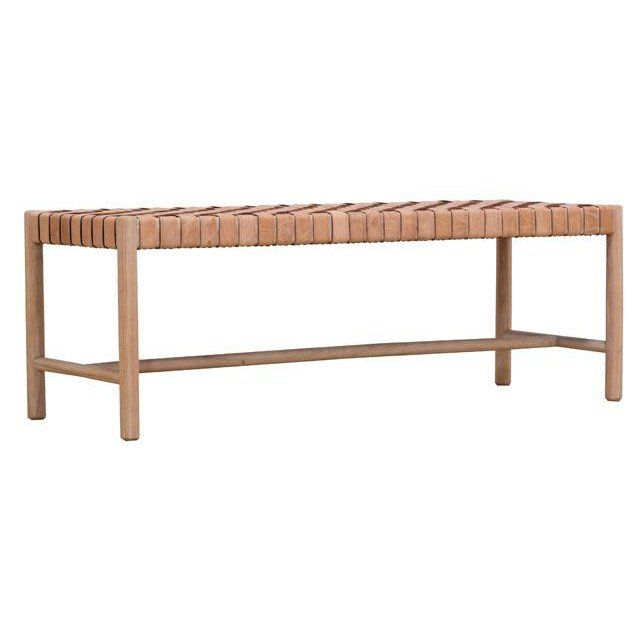 bench woven leather seat in natural by globewest bench natural