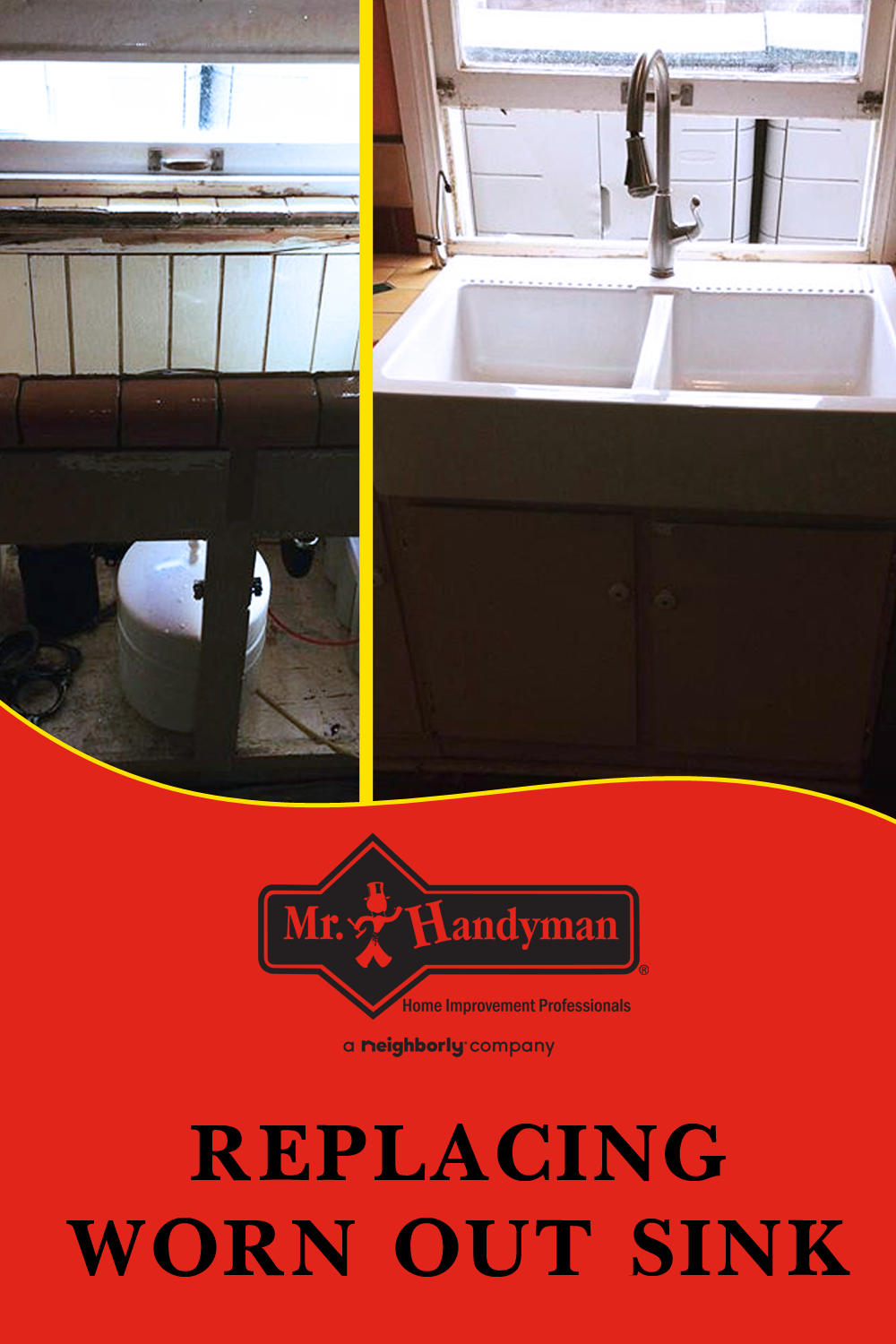 Replacing A Worn Out Sink With A Beautiful New Farm Sink In
