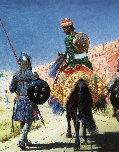 English : Rider warrior in Jaipur, 1881 Painting by Vasily Vereshchagin,  Russian, 1842 - 1904