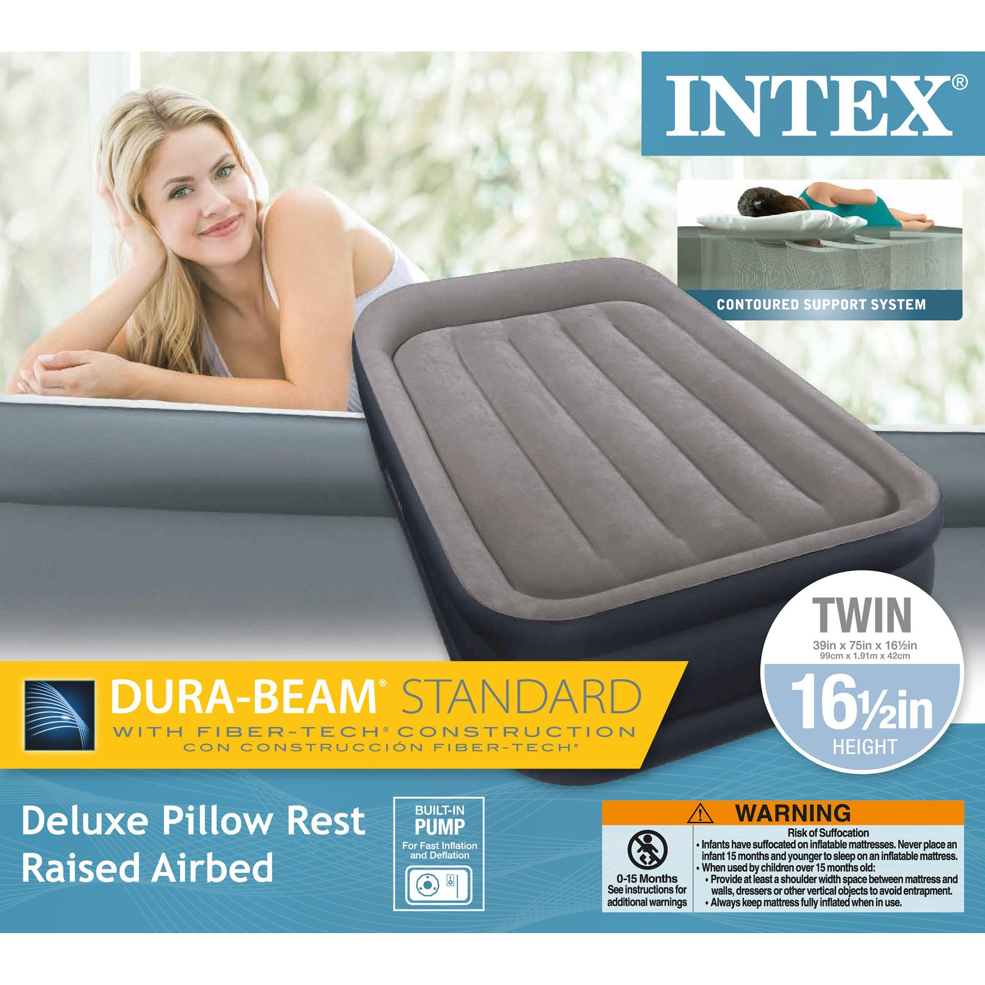 Intex Twin Sized Deluxe Pillow Rest Airbed with FiberTech
