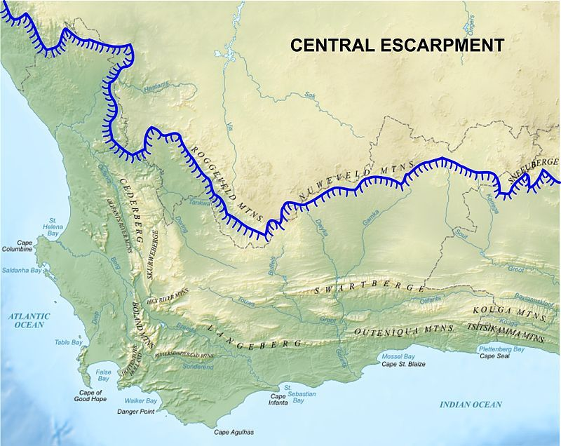 map of mountain ranges in africa Map Of The Western Cape Showing The Main Cape Fold Mountain map of mountain ranges in africa