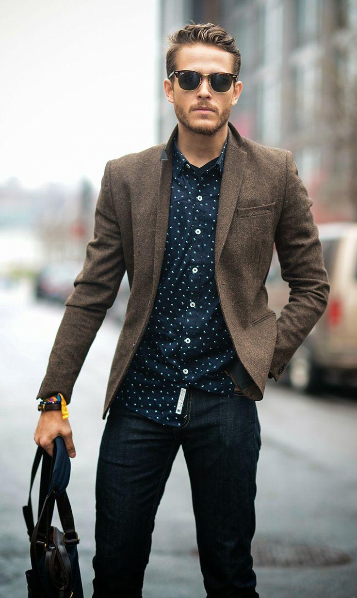 Men's Brown Wool Blazer, Navy Polka Dot Long Sleeve Shirt, Black Jeans,  Dark Brown Leather Tote Bag