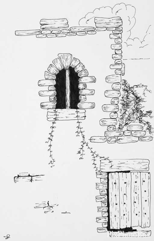A Drawing Of A Stone Wall Wooden Gate And Barred Stone Window