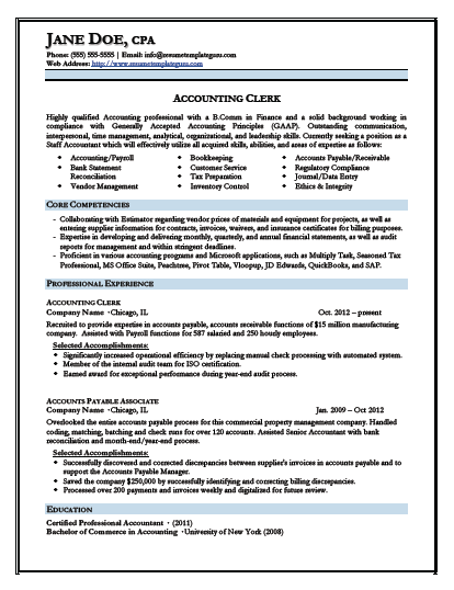 Cv Template Junior Accountant Resume Resume Templates Resume Examples