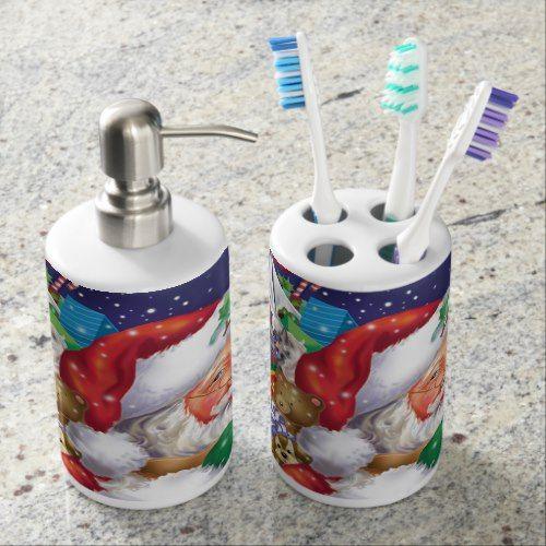 santa soap dispenser and toothbrush holder