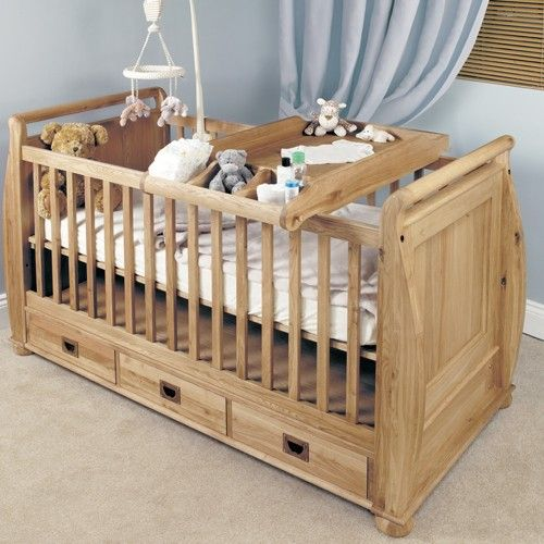 Baumhaus Amelie Oak Cot Top Baby Changer Cco14a Baby Cot Bedding Childrens Bedroom Furniture Wooden Baby Cot