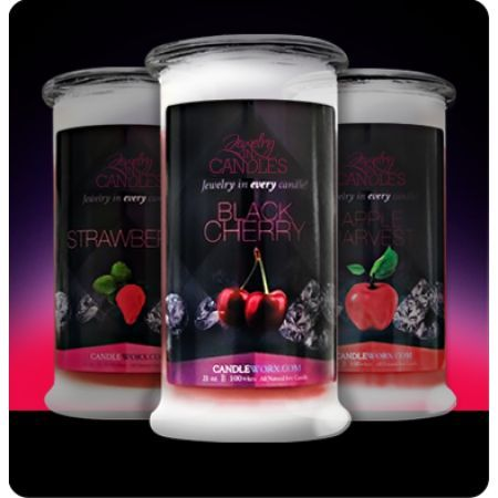 Our Fresh Fruit jewelry candle collection includes Black Cherry, Apple Harvest and Strawberry candles. Full size 21oz jewelry candle - 100% all natural soy candle burns for 100 to 150 hours. Jewelry in every candle. https://www.jewelryincandles.com/store/laburch
