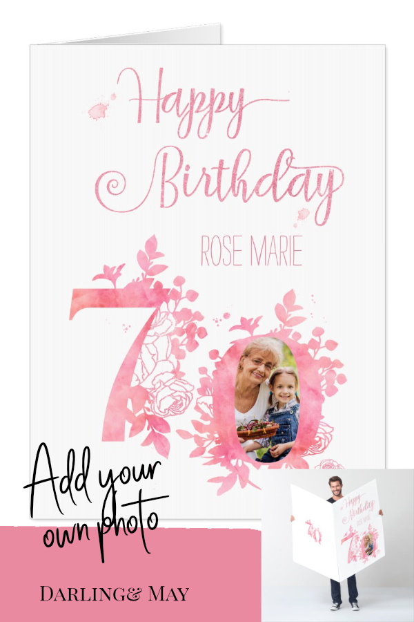 70th Birthday Pink Floral Numbers Jumbo Photo Card Zazzle Com 70th Birthday Card 70th Birthday Photo Cards