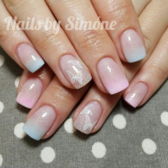 Light Blue And Pink Baby Boomer Acrylic Nails With Butterfly Stamp Art Nails By Sim 243 Ne
