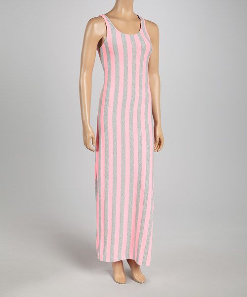 Take+a+look+at+the+Just+Love+Heather+Gray+&+Fuchsia+Stripe+Maxi+Dress+on+#zulily+today!