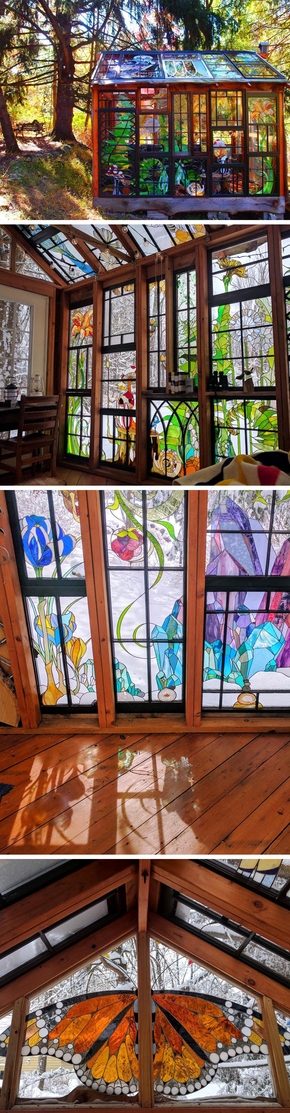 a stained glass cabin hidden in the woods by neile cooper art