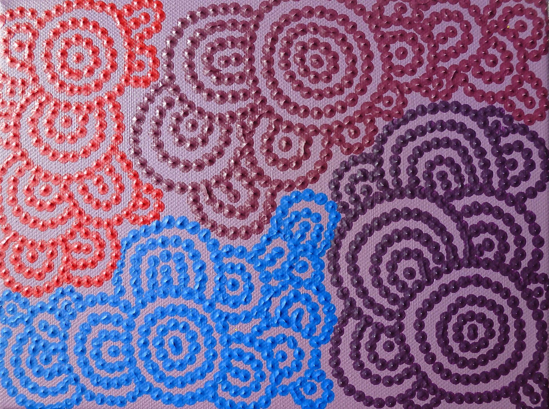Tableau contemporain bleu rose rouge violet points et for Motif peinture