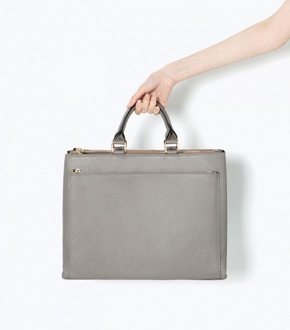 Zara Office City Bag // Sleek grey bag with a top-handle