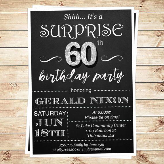 60th Birthday surprise party invitations by DIYPartyInvitation