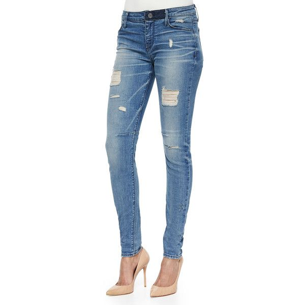 RtA Denim Icon Distressed Skinny Jeans (€78) ❤ liked on Polyvore featuring jeans, man crush, ripped blue jeans, skinny fit jeans, destroyed denim skinny jeans, ripped skinny jeans and blue jeans
