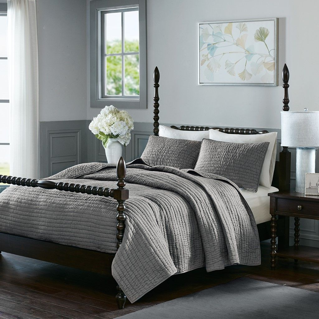 Madison Park Signature Serene Cotton Hand Quilted Coverlet Set