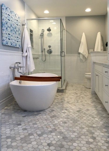 Bathtub Tile Ideas >> Hampton Carrara Hex Marble Mosaic Tile - 3 x 3 in. | Your