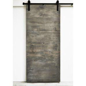 Modern Slab Wood 1 Panel Interior Barn Door