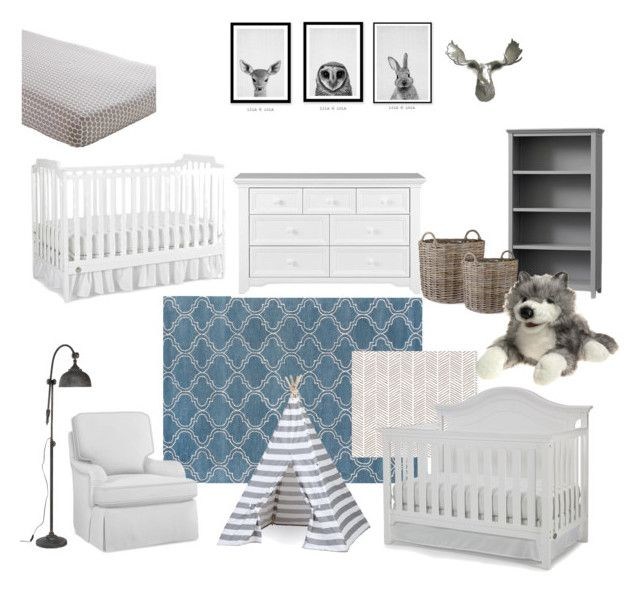 """Neutral Woodland Themed Shared Nursery Room"" by nataly-blowe on Polyvore featuring interior, interiors, interior design, home, home decor, interior decorating, Jaipur, Fisher Price and Garden Trading"