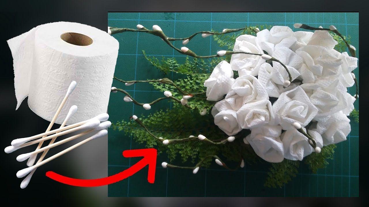 cotton buds and toilet paper flower sevdiklerim. Black Bedroom Furniture Sets. Home Design Ideas