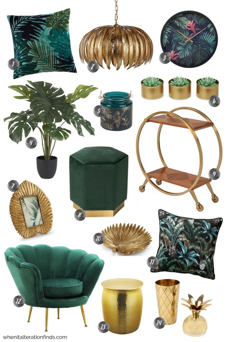 Green and gold living room | Tropical velvet luxury home decor ideas | When It A... - Home Decor Art