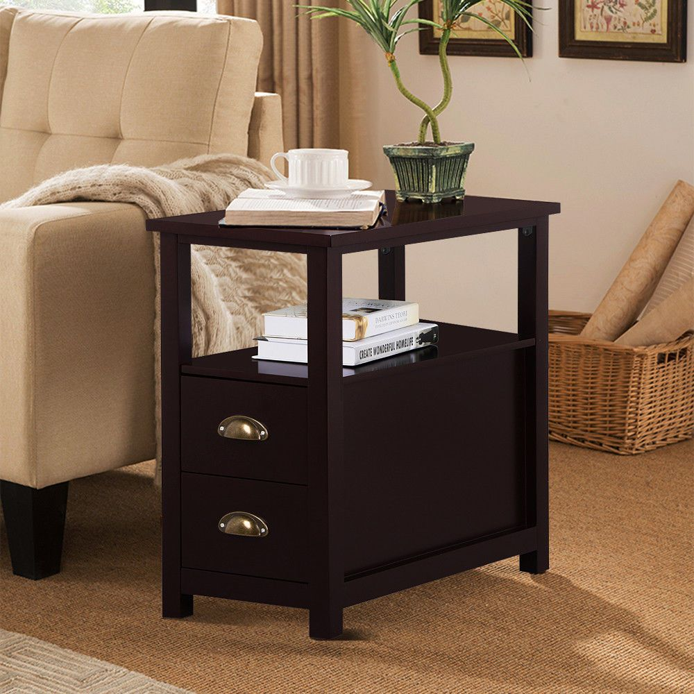 Chairside Side End Table Snack Storage Table Stand With 2 Drawer End Shelf Brow… | Side Chairs Living Room, Living Room End Tables With Drawers, Living Room Drawers