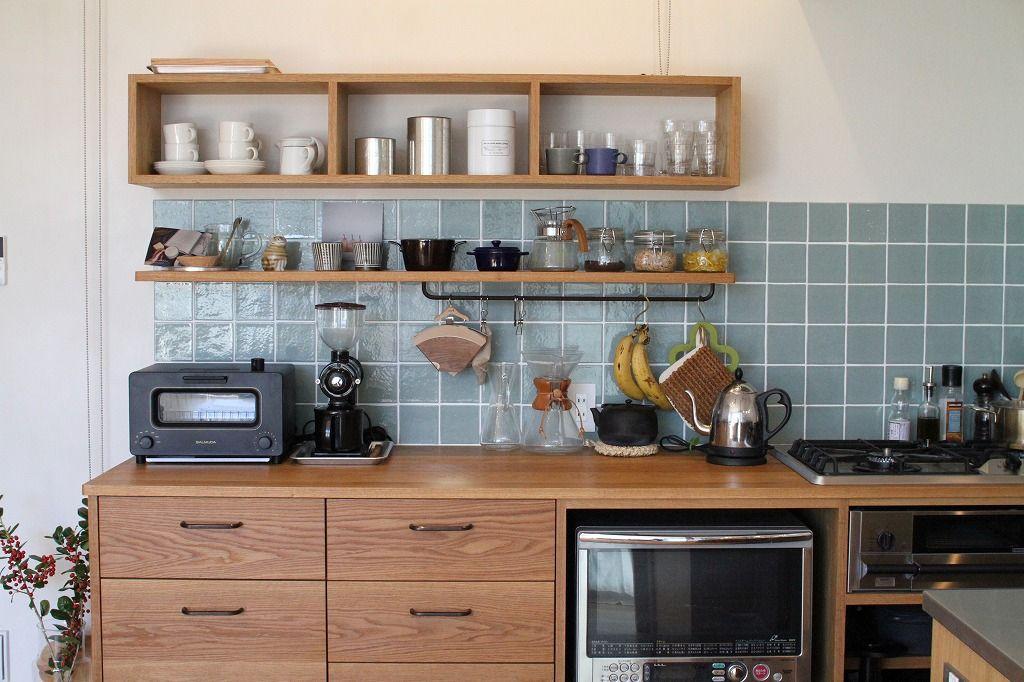 キッチン コーヒーカウンター キッチンタイル施工例 キッチンインテリアデザイン 造作キッチン オーダーキッチン