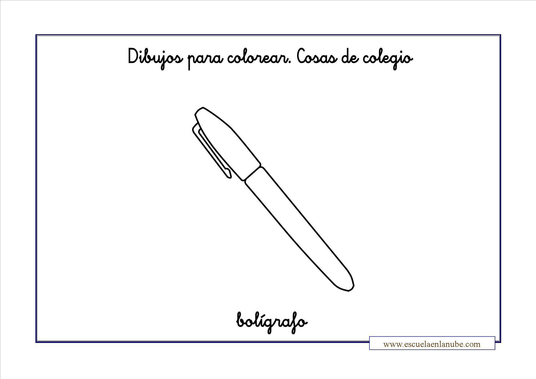 colorear clase boligrafo   COLEGIO   Pinterest   Dibujos ...