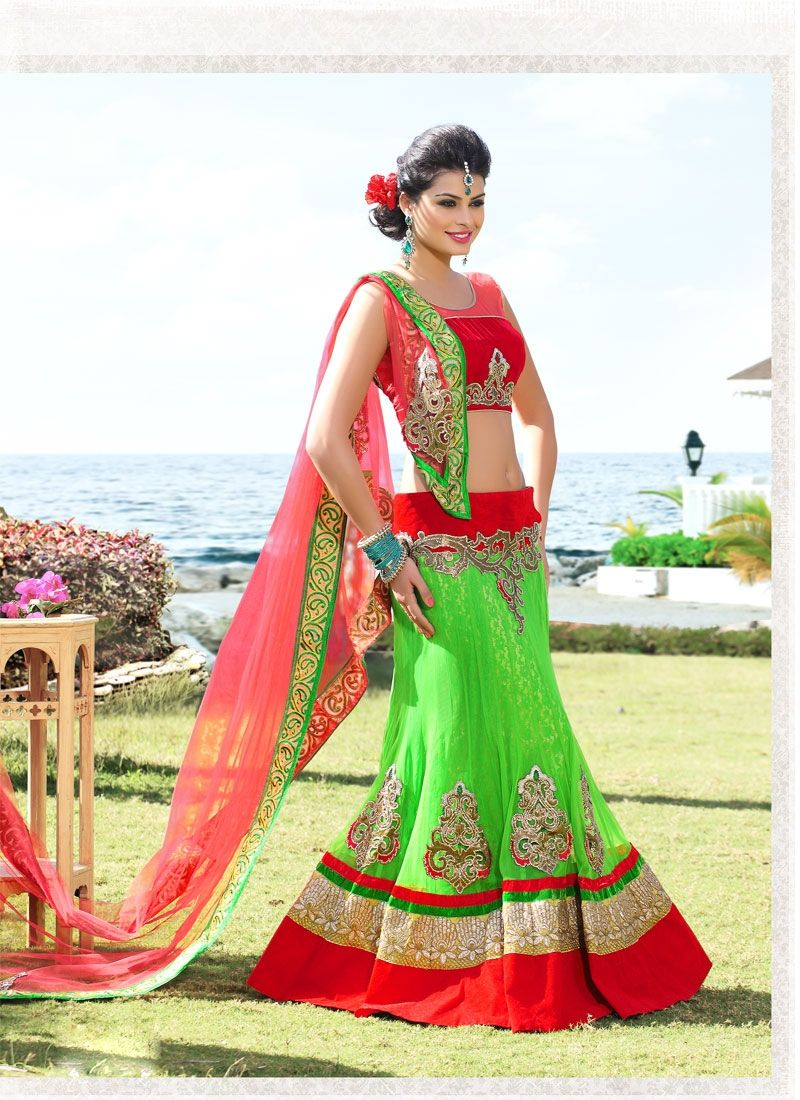 EXOTIC SELLERS!!  Charming Green And Red Patch Border Work Designer Lengha Choli  Product Order http://www.usarees.in/lehenga-choli/charming-green-and-red-patch-border-work-designer-lengha-choli-2483  Call or Whatsapp : +919377152141 NOW GOT IT!!