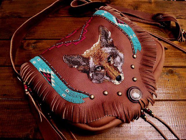 "Beaded shoulder bag ""Coyote"""