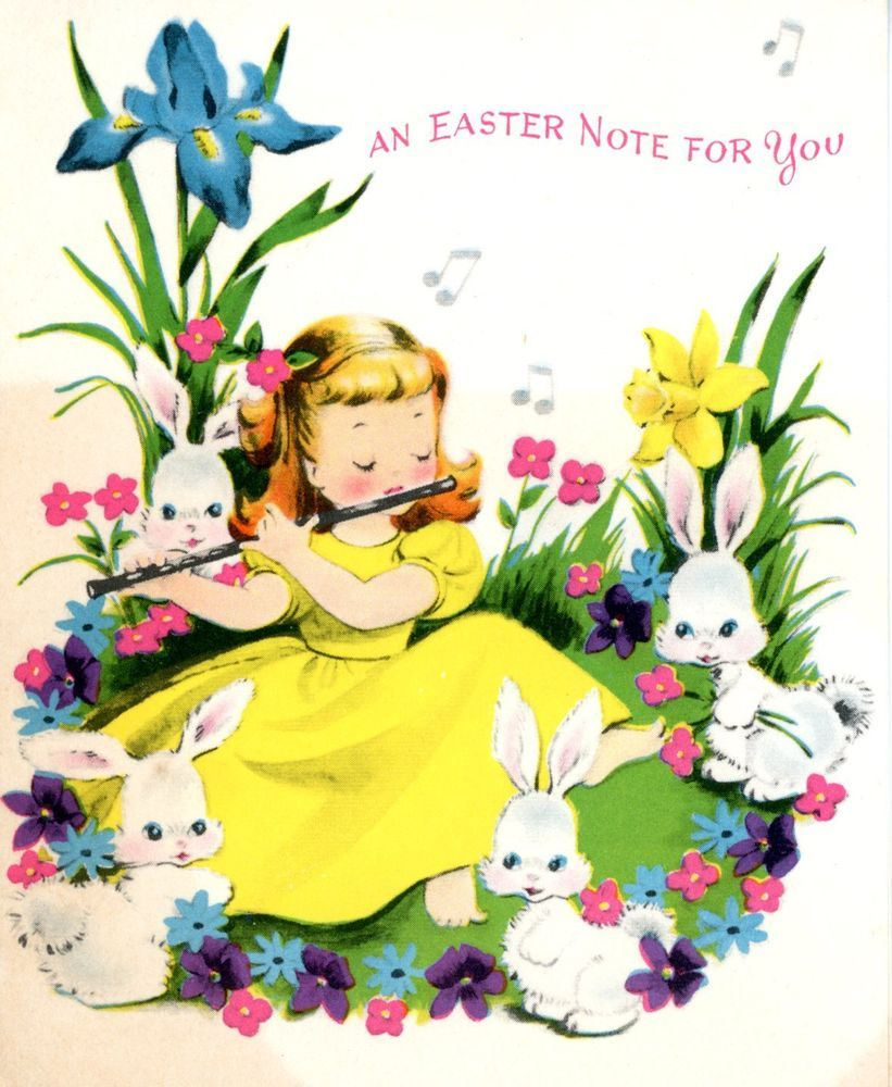 Vintage Norcross Easter Greeting Card Girl Playing Flute Flowers