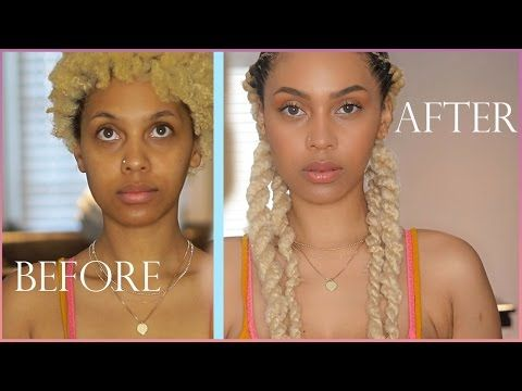 TRANSFORMATION | No MAKEUP MAKEUP LOOK WOC+ BRAID TWISTS on NATURAL HAIR | J MAYO - YouTube