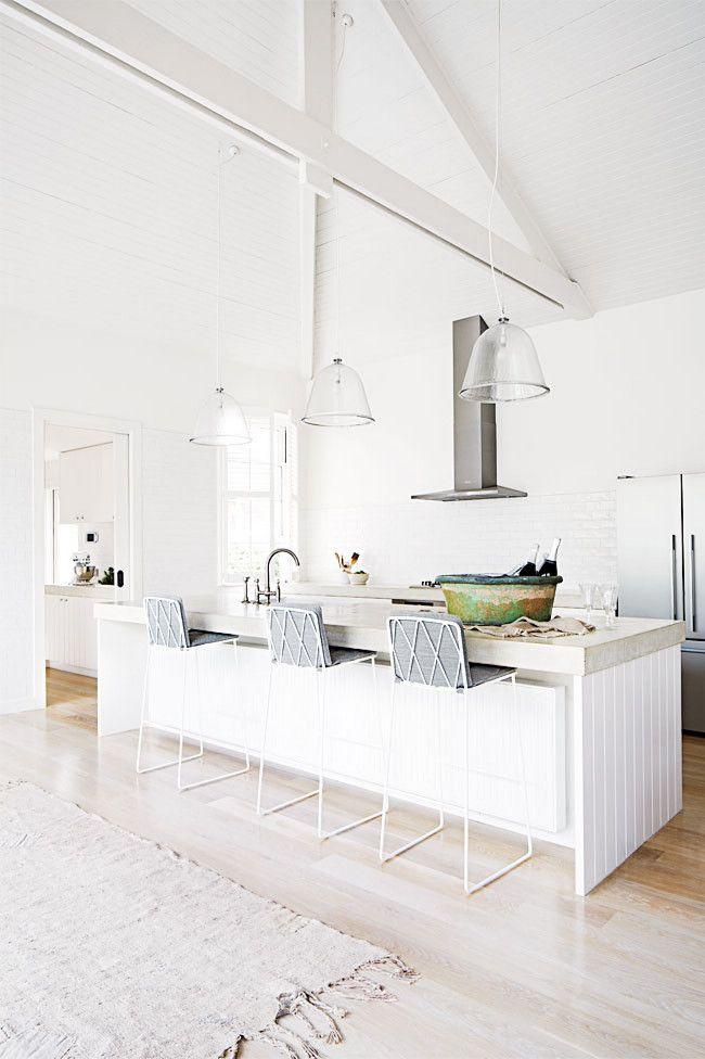 light kitchen + white wire & grey cushion barstools