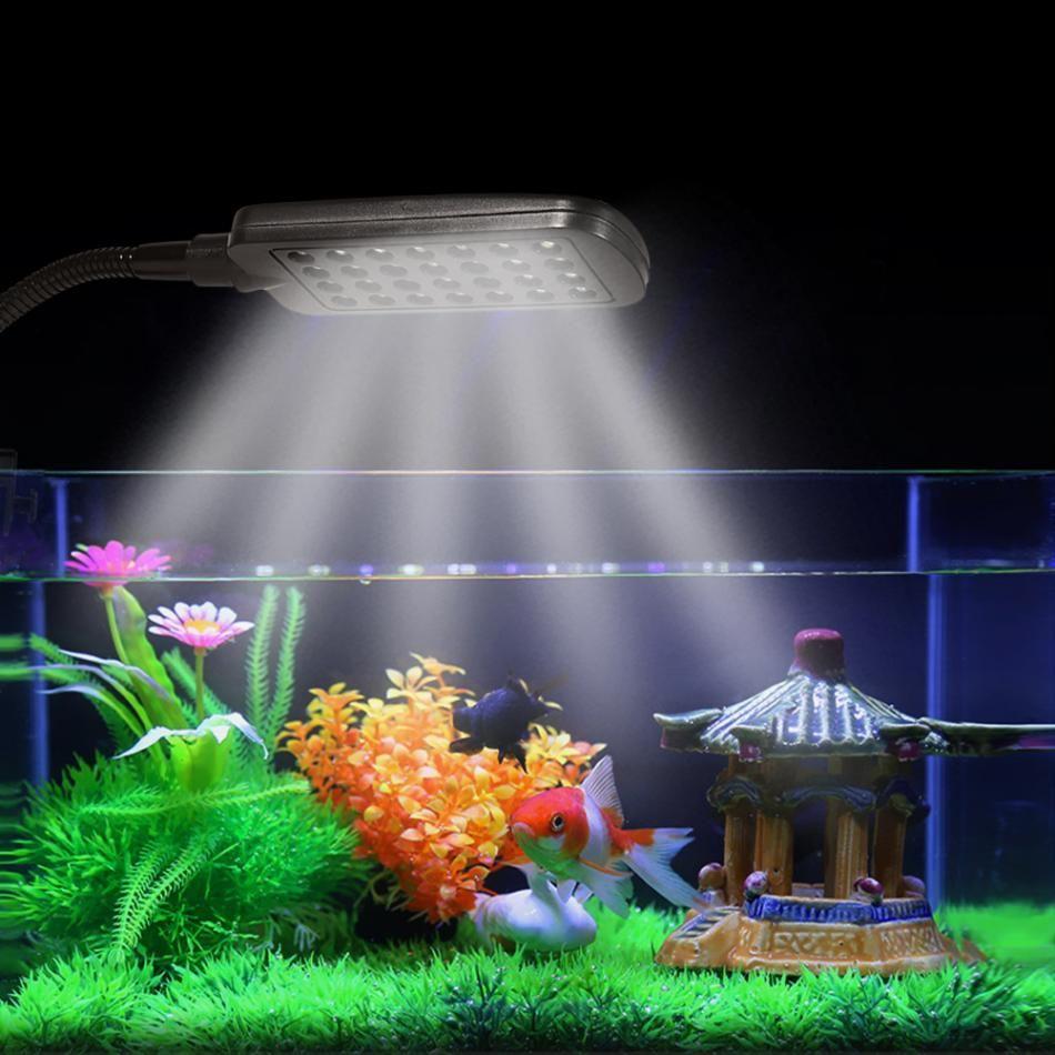 28 LED Aquarium  Tank Clamp Clip Fish Lamp Light White /& Blue Color Lighting New