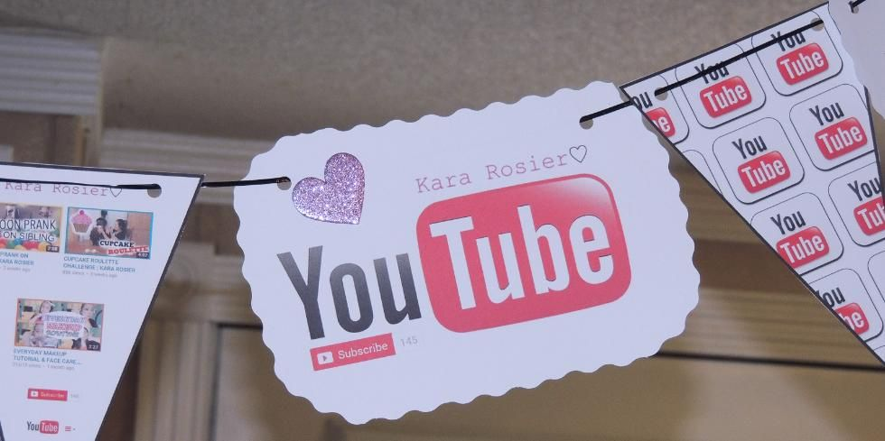 Free Youtube Birthday Party Printables Flag Bunting Banner For