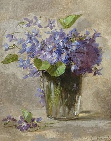 "huariqueje: "" Anna Eliza Hardy Still Life of Violets 19th century. Source: Robin Lucile Anderson, Floral Art """