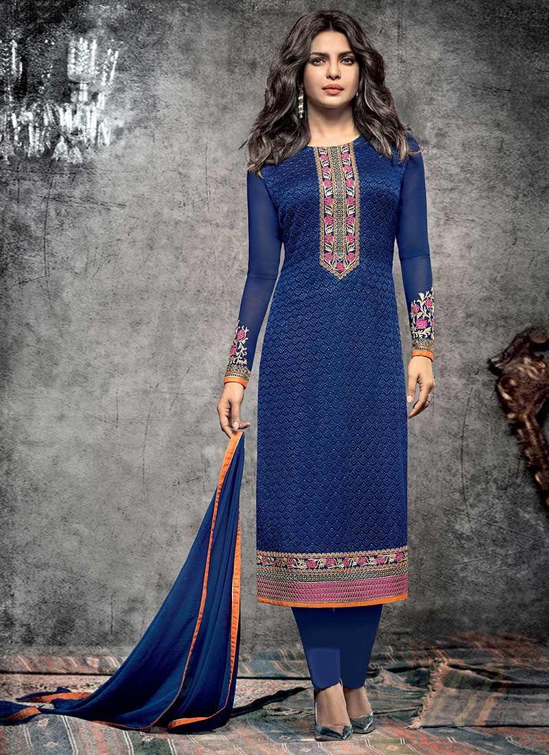 Priyanka Chopra Blue Straight Pant Suit