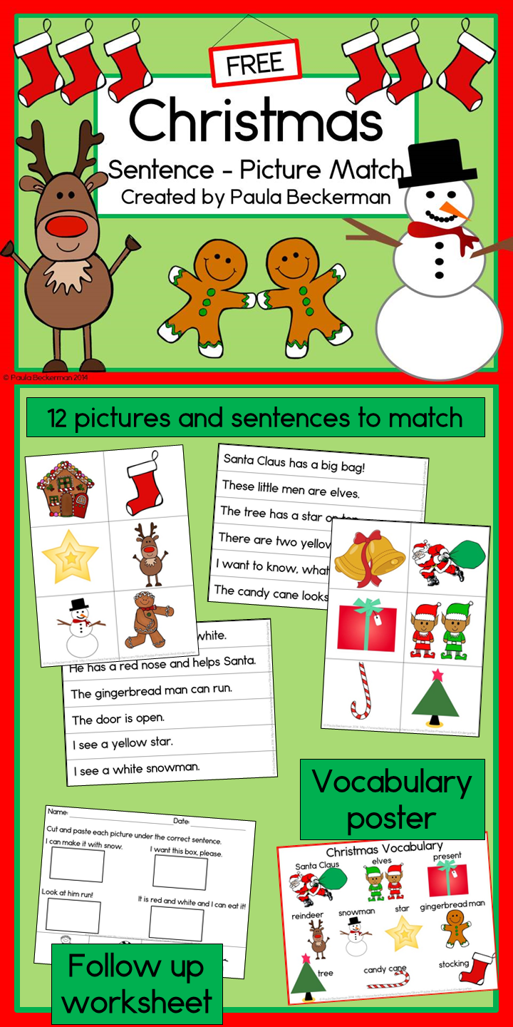 788769b34 Christmas Sentence Picture Match Reading Center