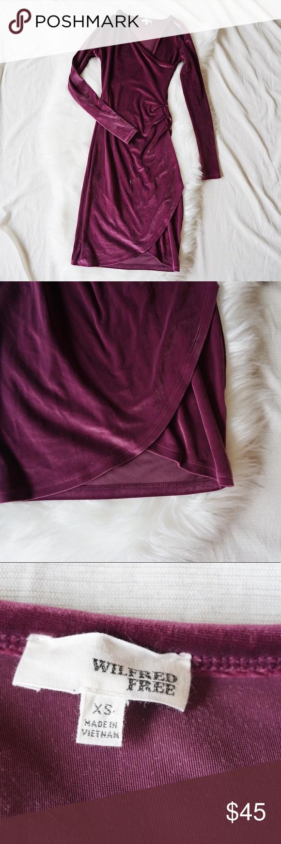 Aritzia wilfred free wine velvet wrap dress xs in my posh