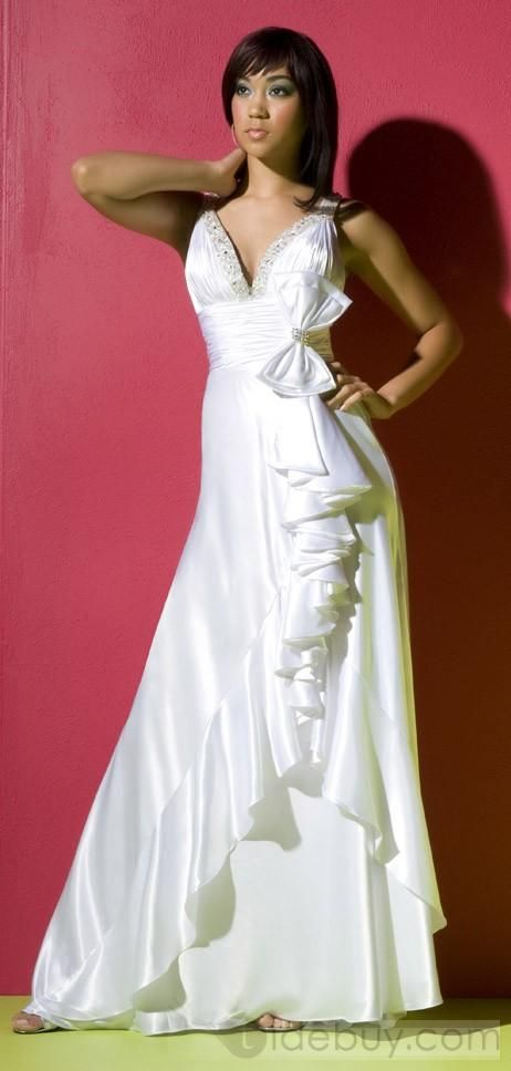 Sexy Beaded V neck with Rouched Bodice and Elegant Bow Decoration Hot Sell Prom Dresses CA27